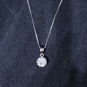 925 Crown CZ Stone Pendant Free Chain